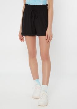 black super soft paperbag waist shorts - Main Image