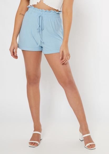blue super soft paperbag waist shorts - Main Image