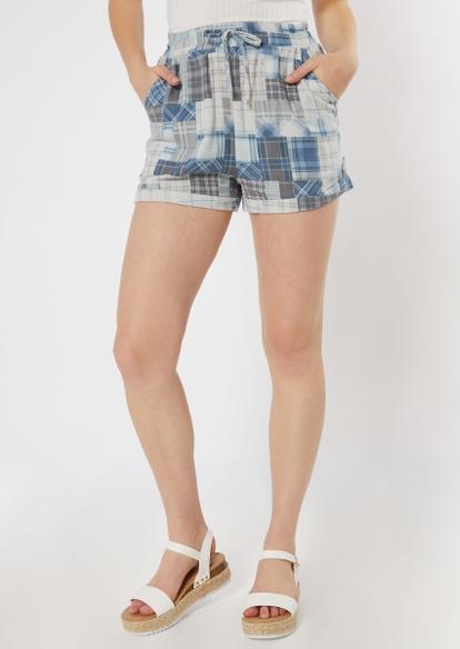 blue patchwork plaid linen shorts - Main Image