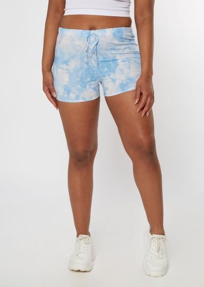 blue tie dye crinkle woven shorts - Main Image