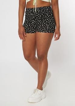 black ditsy crinkle woven shorts - Main Image