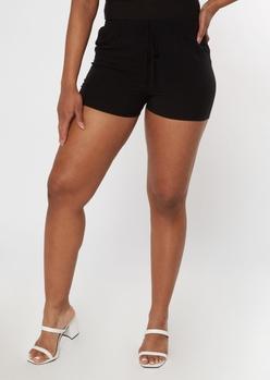 black crinkle woven shorts - Main Image
