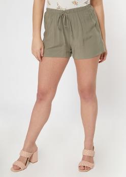 olive crinkle woven shorts - Main Image