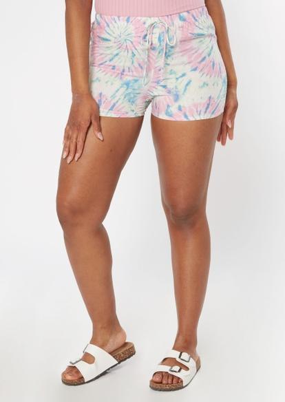 pastel tie dye crinkle woven shorts - Main Image