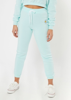 teal embroidered daisy joggers - Main Image
