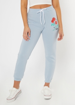 blue forever in love graphic joggers - Main Image