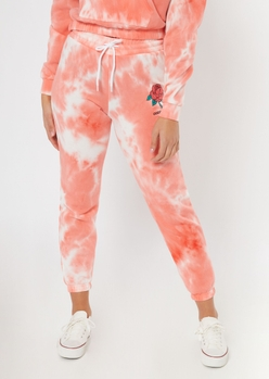 pink tie dye embroidered rose joggers - Main Image