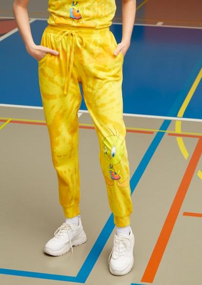 yellow tie dye tweety bird graphic joggers - Main Image