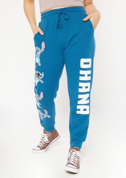 navy lilo and stitch ohana graphic joggers - Main Image