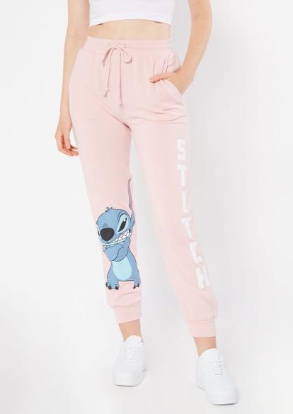 light pink grumpy stitch graphic joggers - Main Image