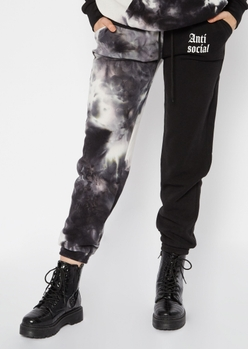 black tie dye two tone anti social embroidered joggers - Main Image