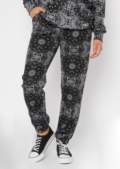 black bandana print oversize boyfriend joggers - Main Image