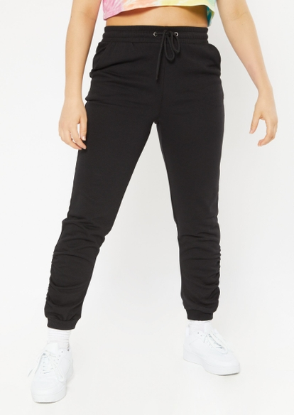 black french terry ruched ankle joggers - Main Image