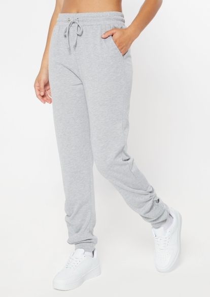 gray french terry ruched ankle joggers - Main Image