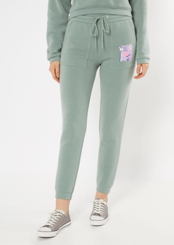 green iconic butterfly print skinny joggers - Main Image