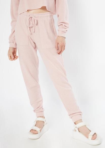 medium pink brushed hacci waffle knit joggers - Main Image