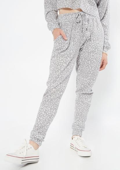 gray cheetah print brushed hacci waffle knit joggers - Main Image
