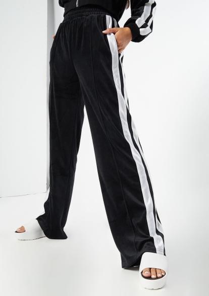 black wide leg side stripe velour joggers - Main Image