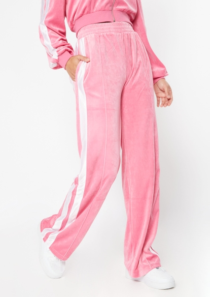 pink wide leg side stripe velour joggers - Main Image