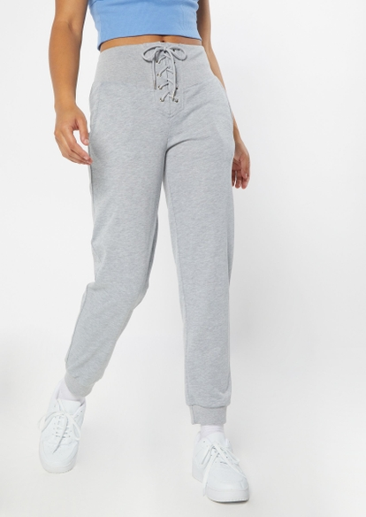 heather gray lace up waist skinny joggers - Main Image