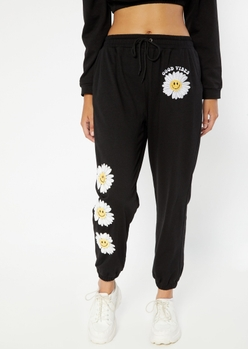 black smiley face daisy embroidered boyfriend joggers - Main Image