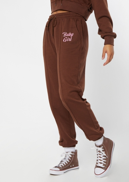 brown embroidered baby girl seam front joggers - Main Image