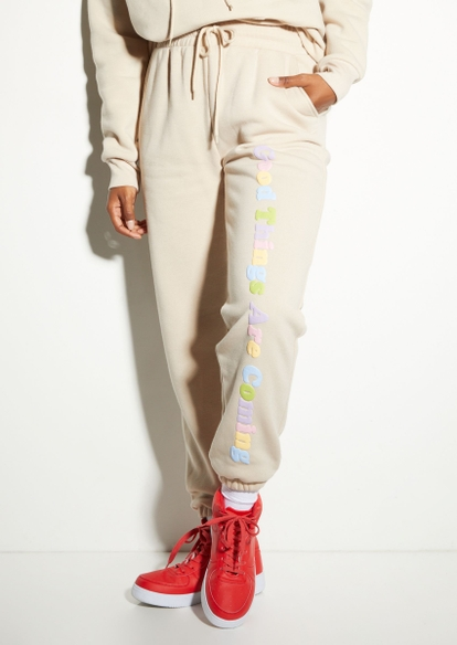 taupe good things coming puff graphic joggers - Main Image