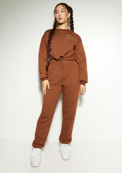 brown quilted boyfriend joggers - Main Image