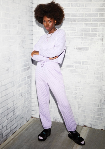 light purple quilted boyfriend joggers - Main Image