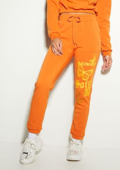 orange saint sinner butterfly boyfriend joggers - Main Image