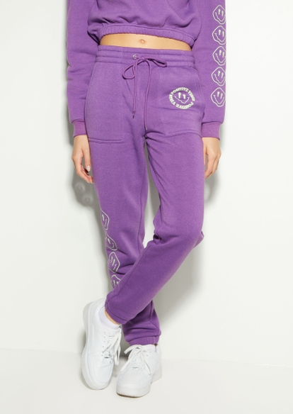 purple good things coming smiley graphic boyfriend joggers - Main Image