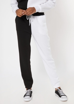 black two tone contrast stay away embroidered boyfriend joggers - Main Image