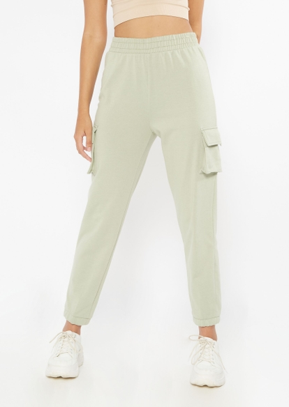 light green french terry cargo joggers - Main Image