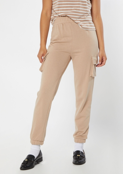tan french terry cargo joggers - Main Image