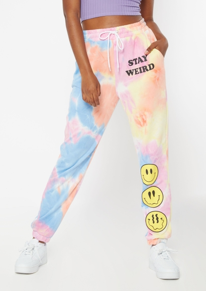 tie dye stay weird smiley face graphic boyfriend joggers - Main Image