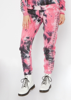 tie dye limited edition checkered print joggers - Main Image