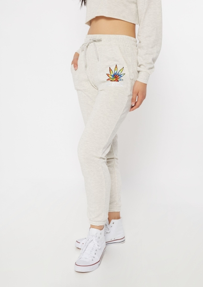 heather oatmeal tie dye weed leaf vibes embroidered joggers - Main Image