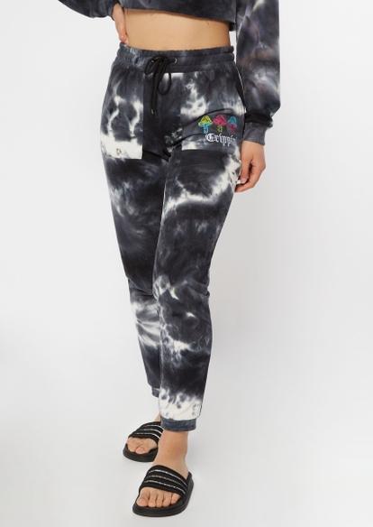 black tie dye trippin mushroom embroidered fleece joggers - Main Image