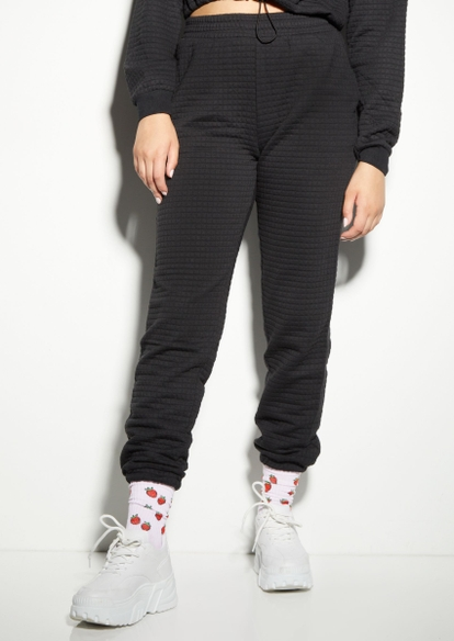 black quilted boyfriend joggers - Main Image