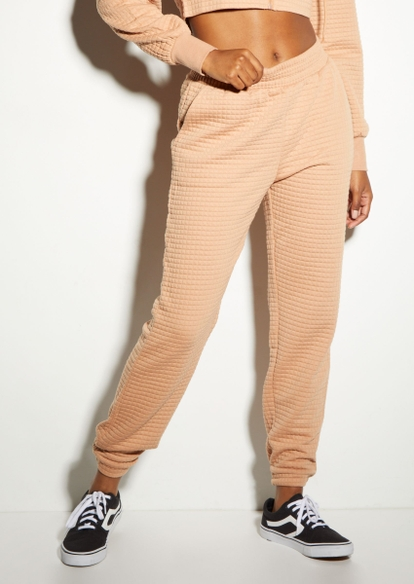 honey brown quilted boyfriend joggers - Main Image