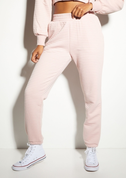 light pink quilted boyfriend joggers - Main Image
