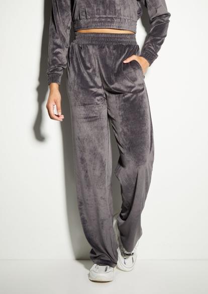 gray ribbed velour wide leg sweatpants - Main Image