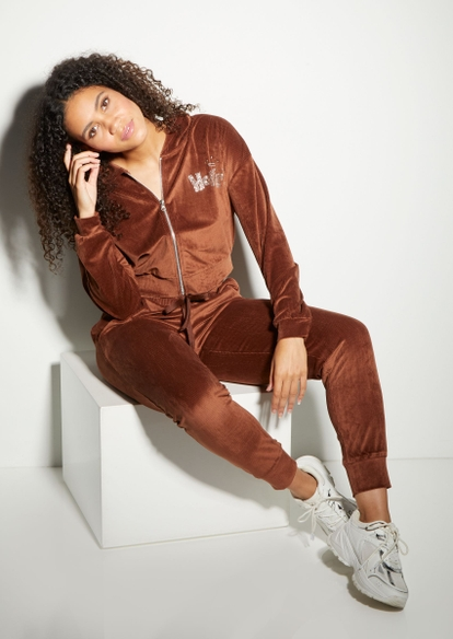 brown ribbed velour joggers - Main Image
