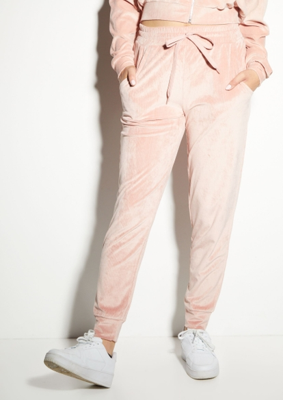 light pink ribbed velour joggers - Main Image