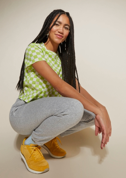 gray drawstring waist joggers - Main Image