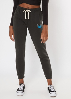 black butterfly embroidered skinny joggers - Main Image