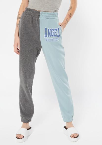 light blue contrast split angel athletic dept graphic joggers - Main Image