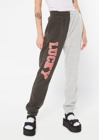 gray two tone contrast split lucky graphic joggers - Main Image