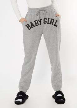 heather gray baby girl boyfriend joggers - Main Image