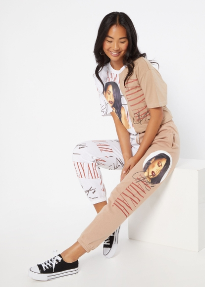 neutral colorblock aaliyah graphic joggers - Main Image